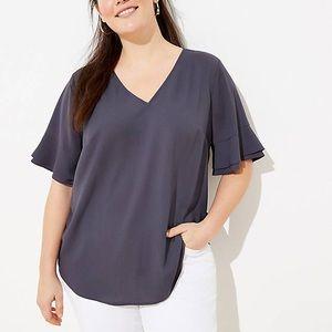 loft ruffle short sleeve top purple